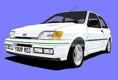 Ford Fiesta Rs Turbo Car Art Print. Add Your Reg Details, Choose Car Colour