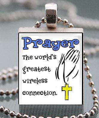Prayer Greatest Wireless Connection Custom Scrabble Tile Pendant Charm Religious