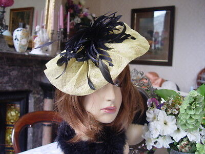 Chartreuse Golden Yellow / Green Sinnamay Fascinator With Black  Feathers