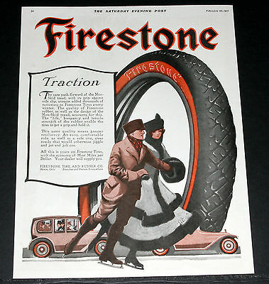 1917 Old Magazine Print Ad, Firestone Tires For Traction, Nice Ice Skating Art!