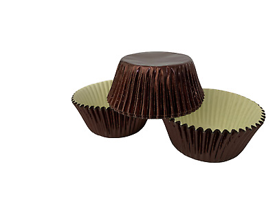 48 Brown Foil Cupcake Liners Baking Cups Cake, Candy, Cookie Decorations