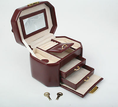 Jewelry Collection Box Collector Leather Earring Ring With Handle Mirror Storage