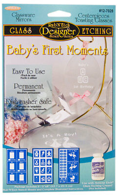 Armour Rub'N'Etch Glass Etching Stencil Baby's First Moments Dishwasher Safe