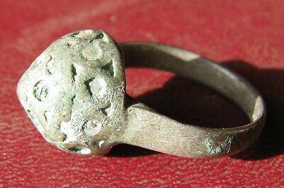 AUTHENTIC ANCIENT SILVER ISLAMIC CRUSADER RING 8 1/4 US 18.25mm 8665