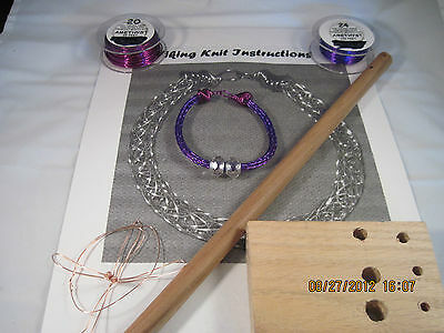 VIKING KNIT BRACELET KIT & INSTRUCTIONS, Amethyst, Fuchsia WIRE #0