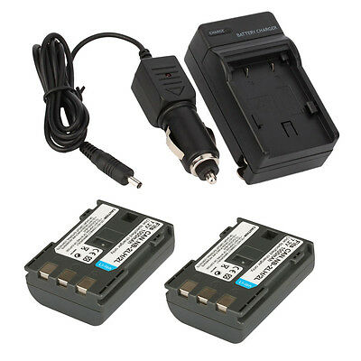 2 x NB-2LH NB-2L NB2LH Battery +Charger for Canon EOS 400D 350D Rebel XT XTi