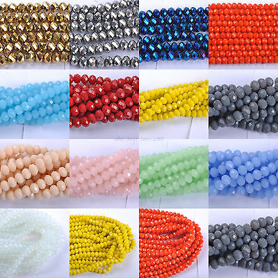 Freeshipping Top Quality Czech Crystal Faceted Rondelle Beads 6mm/8MM 13Colors