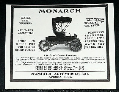 1905 Old Magazine Print Ad, Monarch 7 H.p. Runabout Motor Car, 4-22 Mph Speed!