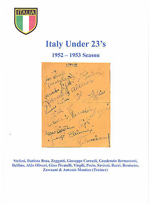 Italy U23's 1952-1953 Very Rare Orig Hand Signed Page With 15 Signatures Good