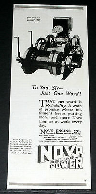 """1920 Old Magazine Print Ad, Novo, Type """"dh"""" Double Drum Hoisting Outfit, Power!"""