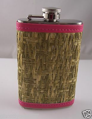 Pink straw weave stainless steel Flask purse size 5 oz