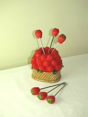8 x Fruit Fork Sets Strawberry Resin And Stainless Fruit Fork Set - BULK LOT - 8