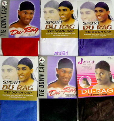 Men's Plain Colours Sport Durag Tie Down Cap Bandana Du Rag Head Scarf New