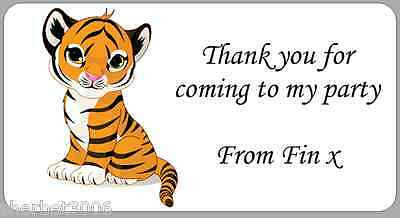 24 x Personalised Stickers Tiger Cub Medium Labels Address Party Thank You