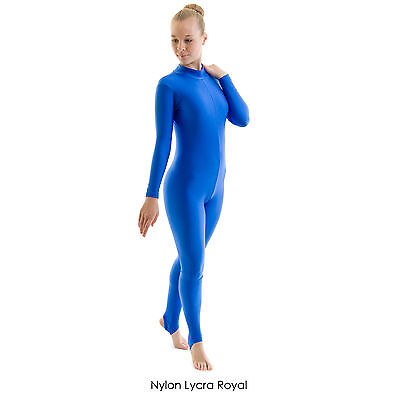 Ladies Polo Turtle Neck Long Sleeve Dance Catsuit Shiny Nylon Lycra Adult GEOR