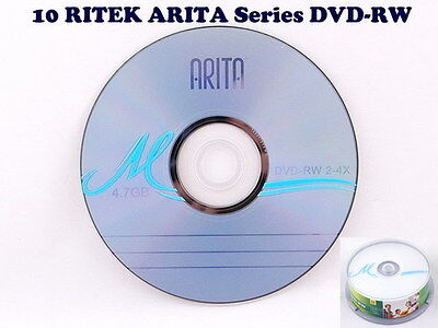 10 RITEK ARITA Series DVD-RW 4.7GB 2-4X Discs Repacked no case