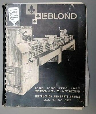 leblond instruction and parts manual bull cad  leblond instruction parts manual for regal lathes 3928