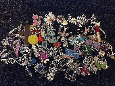 40 PiEcEs ~ MiXeD ThEMe EnAmEL SiLvER BRoNzE ChArMs BuTTeRFLy HeArTs KeYs GiRLy