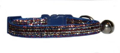 """pink red gold silver blue rainbow  sparkle kitten cat  safety collar 7""""-10"""""""