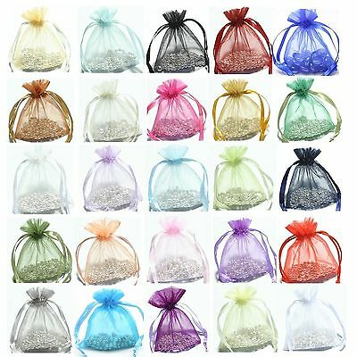 30/100pcs Organza Jewelry Packing Pouch Wedding Favor Gift Bags 19 Colors