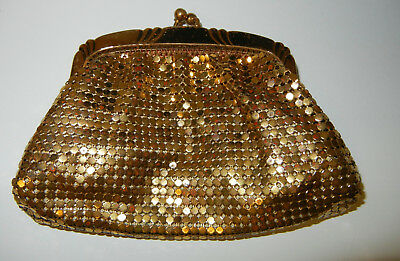 Old Signed Whiting and Davis Gold Tone Mesh Change Purse Evening ESTATE BAG