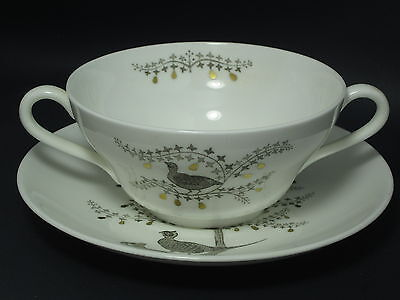 WEDGWOOD - PARTRIDGE IN A PEAR TREE - CREAM SOUP & SAUCER SET - 43C