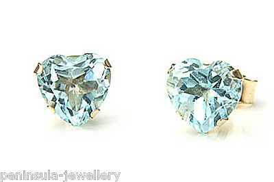 9ct Gold Blue Topaz Heart Stud Earrings Gift Boxed Made in UK
