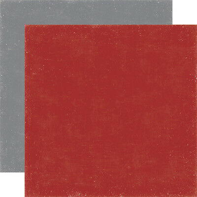 2 Sheets of Echo Park Paper WINTER PARK Coordinating 12x12 Cardstock RED/GREY