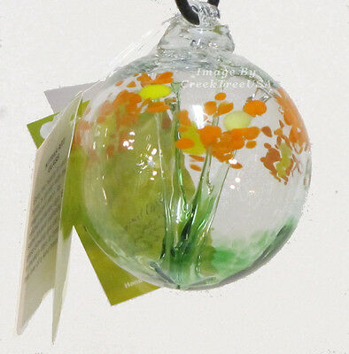 """KITRAS Hand Blown  Art Glass HAPPY BIRTHDAY BLOSSOM WITCH BALL- 2.5""""  - Canadian"""
