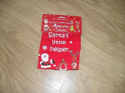 New Christmas Xmas Santa's Little Helper children's kids apron 4-7 years