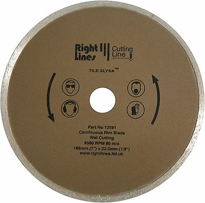 Ceramic Tile Cutting Disc Diamond Blade 180 mm x 25.4 mm for 1 in Mounting.
