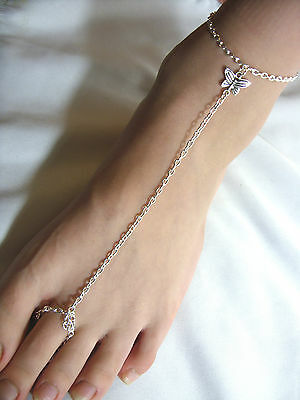 Silver Tone with * Butterfly * Charm Slave Chain Anklet, Ankle Bracelet,Toe Ring