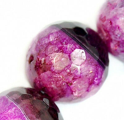 16mm Faceted Black Magenta Druzy Agate Gemstone Round Spacer Loose Beads 12pcs