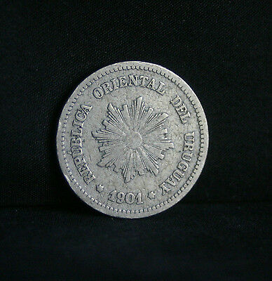 1901 Uruguay 2 Centesimos World Coin KM20 Radiant Sun Wreath South America