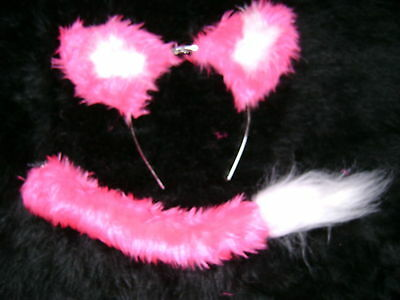 Bright Pink Fox Ears And Tail Set White Marabou Handmade Fancy Dress Unique Item