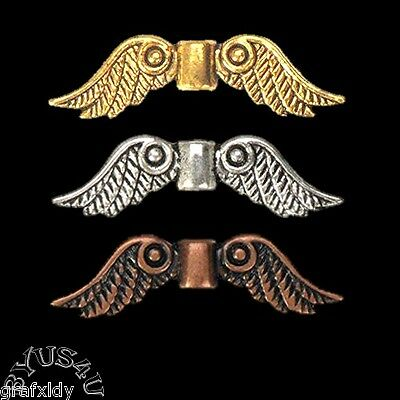 ANGEL WING PEWTER SPACER BEADS choice of plating 25pc