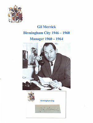 Gil Merrick Birmingham City 1946-60 Mgr 60-64 Rare Orig Hand Signed Cutting/Card