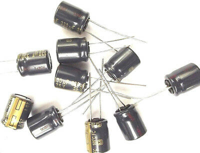 Lot of 3 Panasonic Capacitors 330uF 25V FC 105C EEU-FC1E331 12.5x10mm