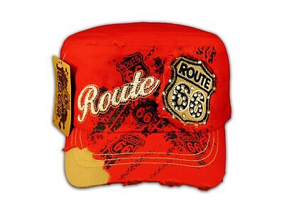 Pink Route 66 Cadet Castro Cap Vintage Military Army Hat Distressed
