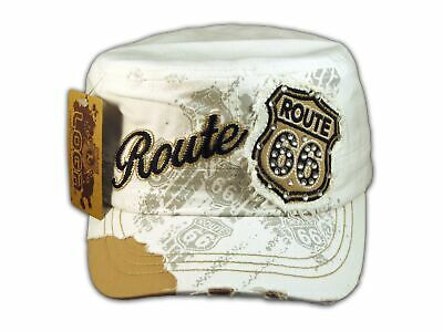 2492101caef White Route 66 Cadet Castro Cap Vintage Military Army Hat Distressed Visor