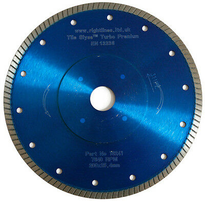 Porcelain Tile Cutting Diamond Blade.Turbo. 250mm x25.4mm. Cuts Hard Tiles Fast.