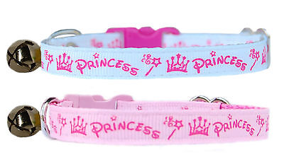 handmade pink & cerise pink princess safety kitten cat collar