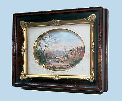 Late 17Th/Early 18Th? Old Master Style Landscape, Figures Miniature Oil Painting