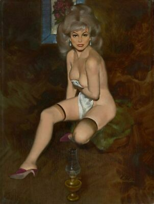 Vintage Pin-Up Brunette In Stockings Willis Fritz PINUP345 A4 A3 A2 A1