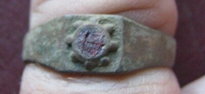 Authentic Ancient Artifact  Metal Detector Find   FINGER RING 10 US 19.75mm 9233