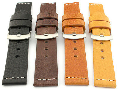 Genuine Leather Watch Strap Band RIVIERA Regular, Extra Long Buckle Spring Bars