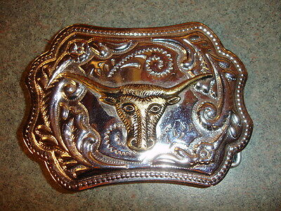 Collectible Metal Belt Buckle With Bull Design Silver Colored