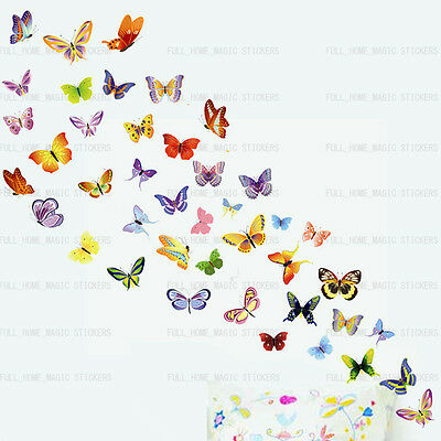 42 Colourful Butterflies Wall Stickers Art Decal Wallpaper Girls Room REMOVABLE