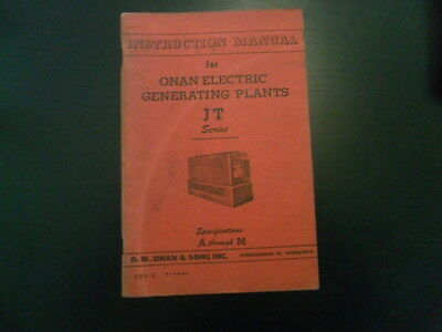 Vintage Onan Instruction Manual For Electric Generating Plants Series Jt!!!
