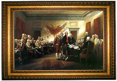 John Trumbull Signing of the Declaration of Independence-Gold Framed Canvas M